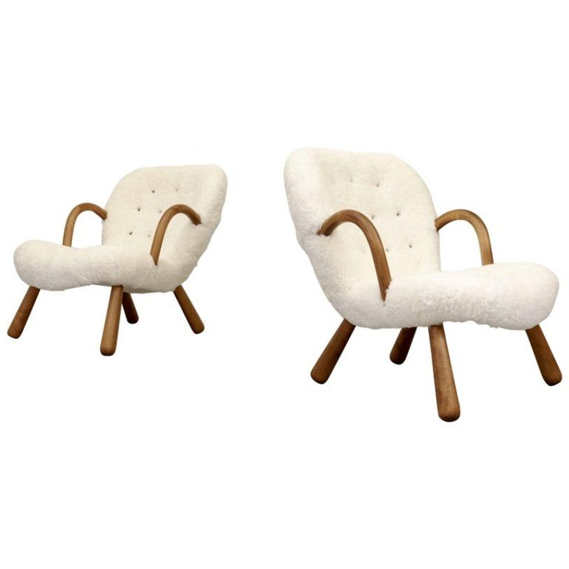 clam armchairs by philip arctander for nordisk st l. Black Bedroom Furniture Sets. Home Design Ideas