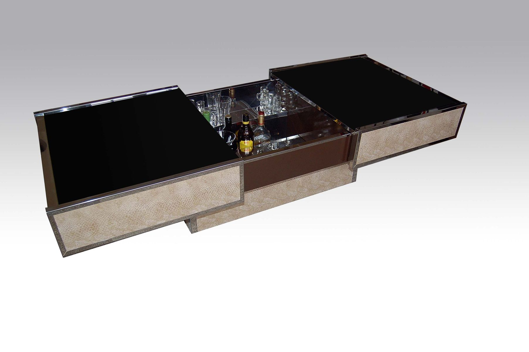 Coffee Table with Bar by Willy Rizzo for Cidue 1970s for sale at