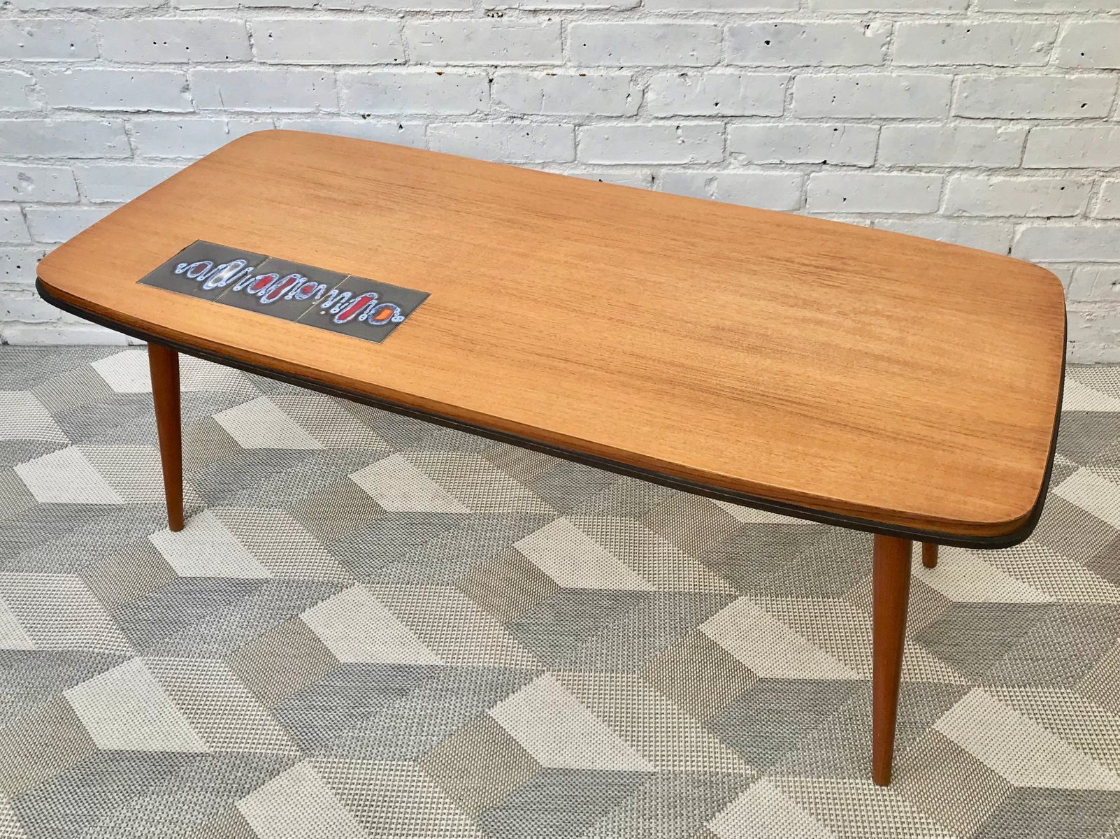 Vintage Coffee Table with Tiles for sale at Pamono