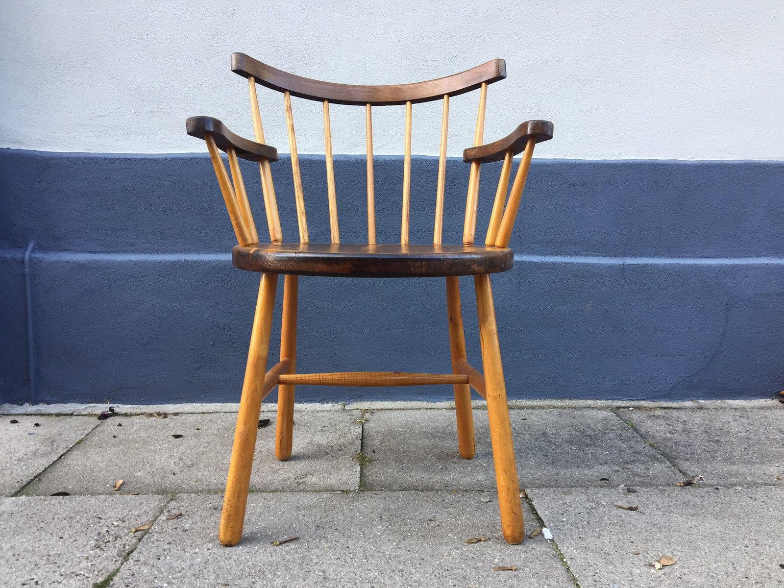 Danish Windsor Armchair With Club Shaped Legs, 1950s