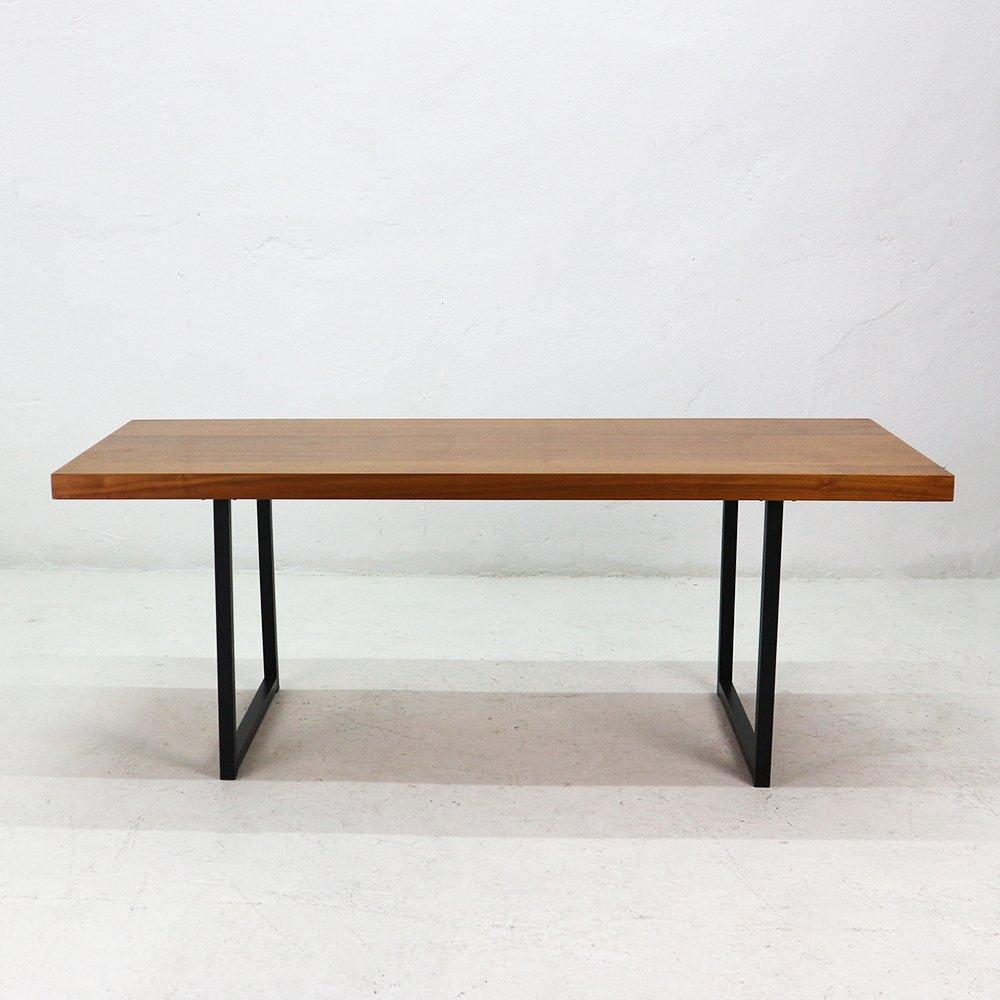 Vintage Rectangular Walnut Veneered Steel Coffee Table For Sale At Pamono