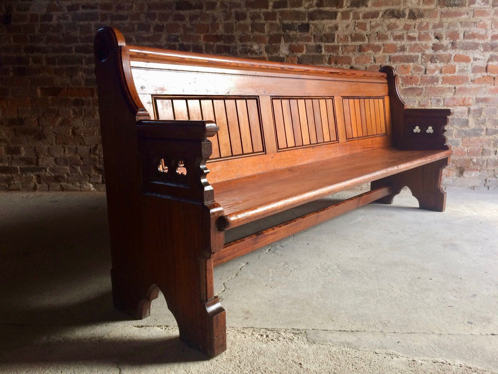 gothic revival pine church pew 1890s