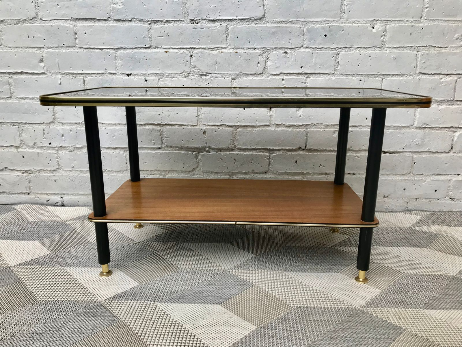 Mid Century Coffee Table with Lower Shelf for sale at Pamono