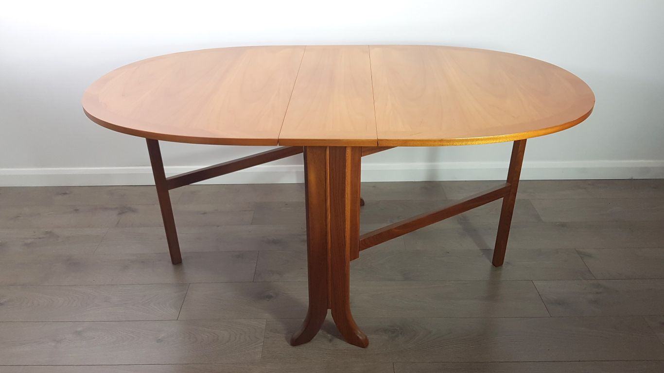 mid century fold out teak dining table from nathan 1980s for sale at pamono. Black Bedroom Furniture Sets. Home Design Ideas