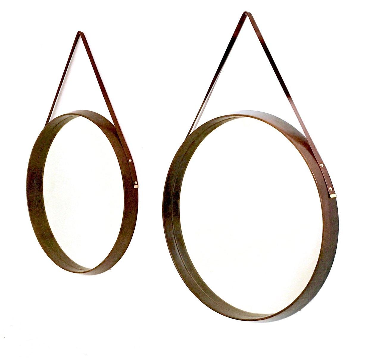 runde italienische wandspiegel mit rahmen aus mahagoni leder 1950er 2er set bei pamono kaufen. Black Bedroom Furniture Sets. Home Design Ideas