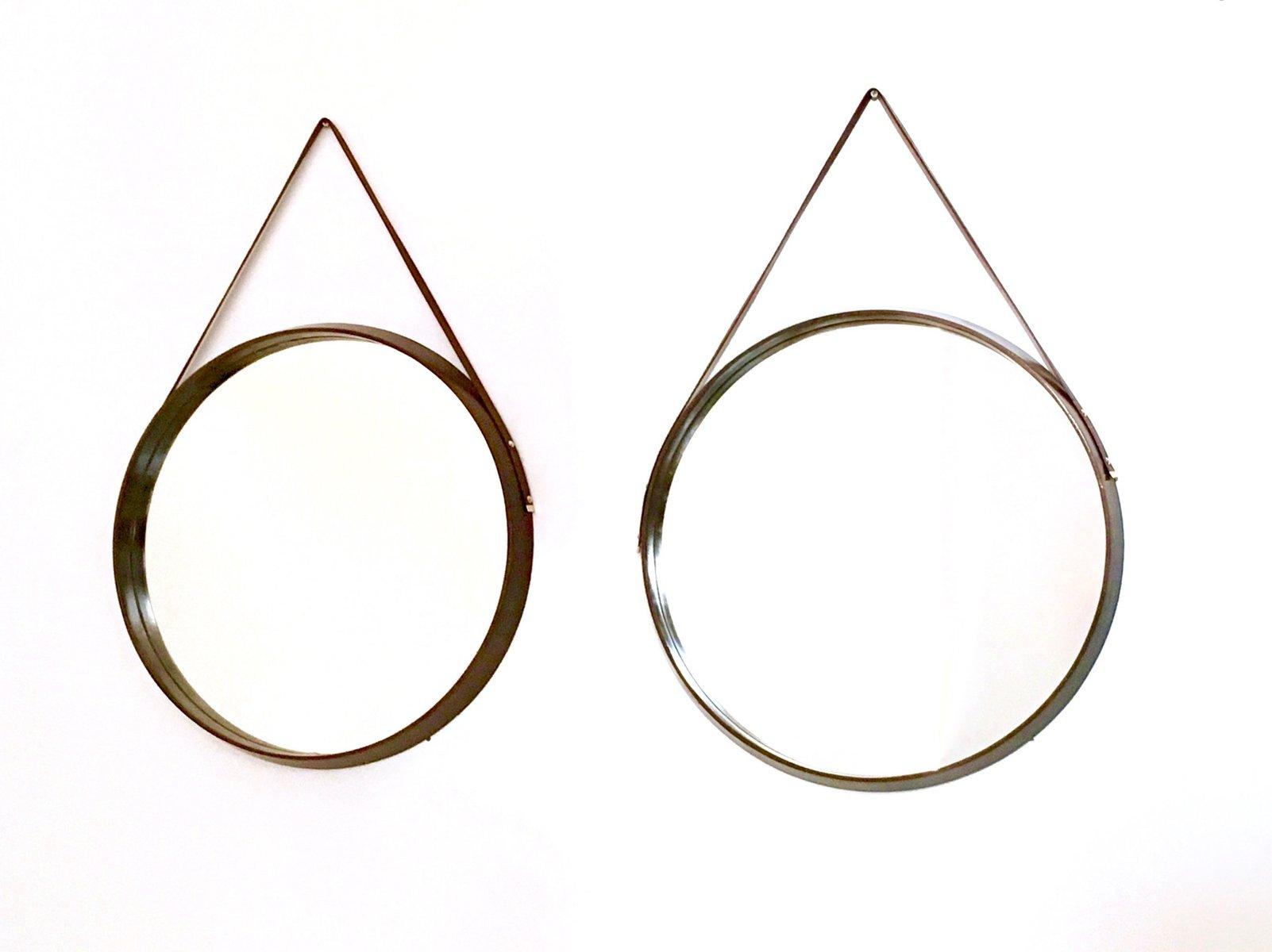 Runde italienische wandspiegel mit rahmen aus mahagoni leder 1950er 2er set bei pamono kaufen - Italienische designer wandspiegel ...