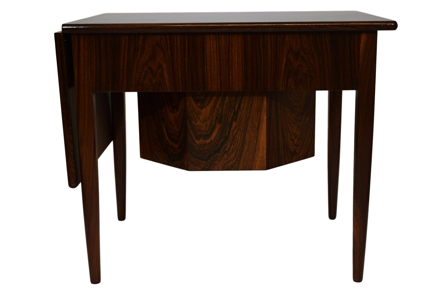 Mid Century Rosewood Veneer Sewing Table With Drop Leaf By Johannes Andersen