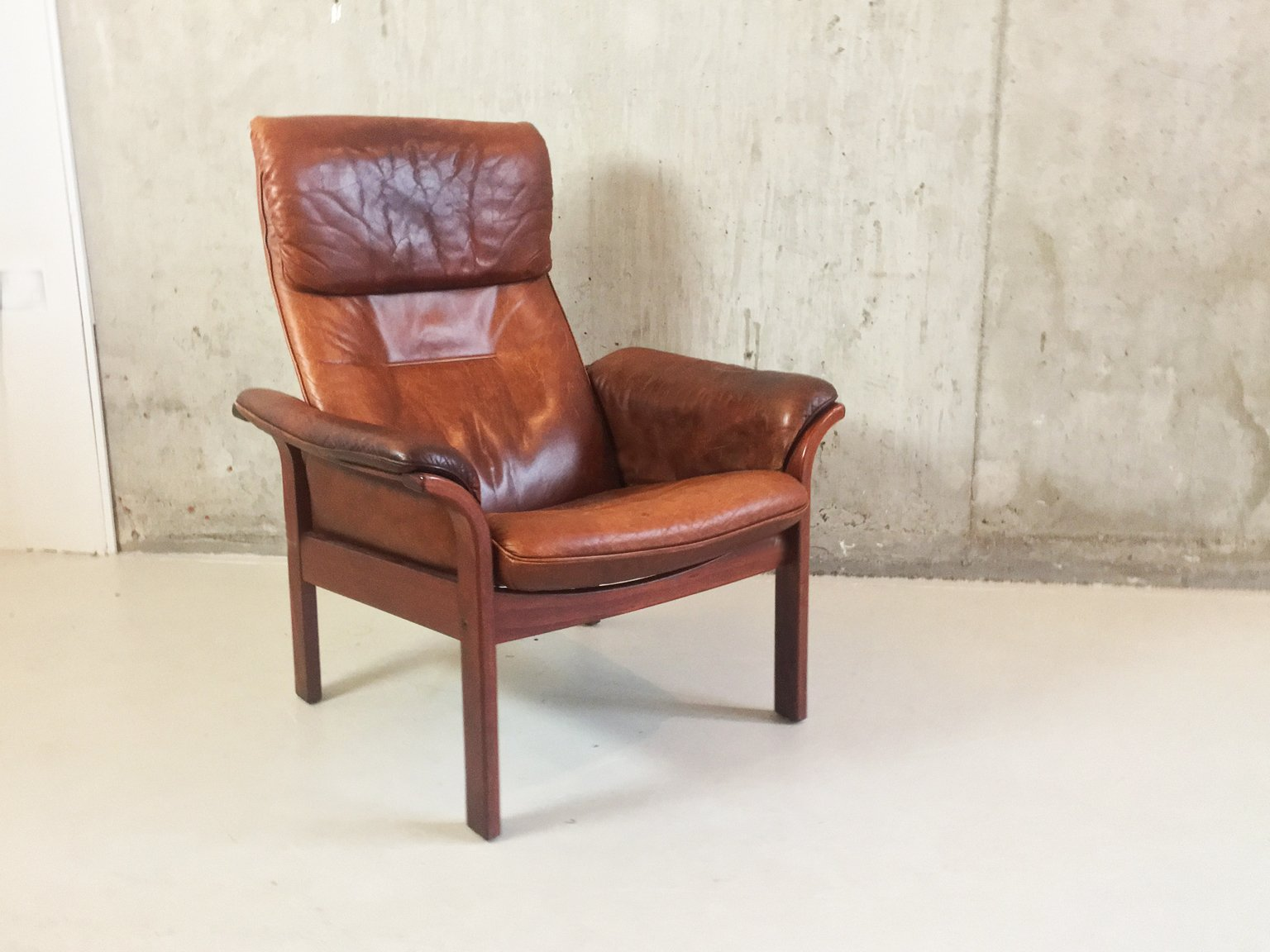 mid century brown leather reclining armchair by g m bel sweden 1960s for sale at pamono. Black Bedroom Furniture Sets. Home Design Ideas