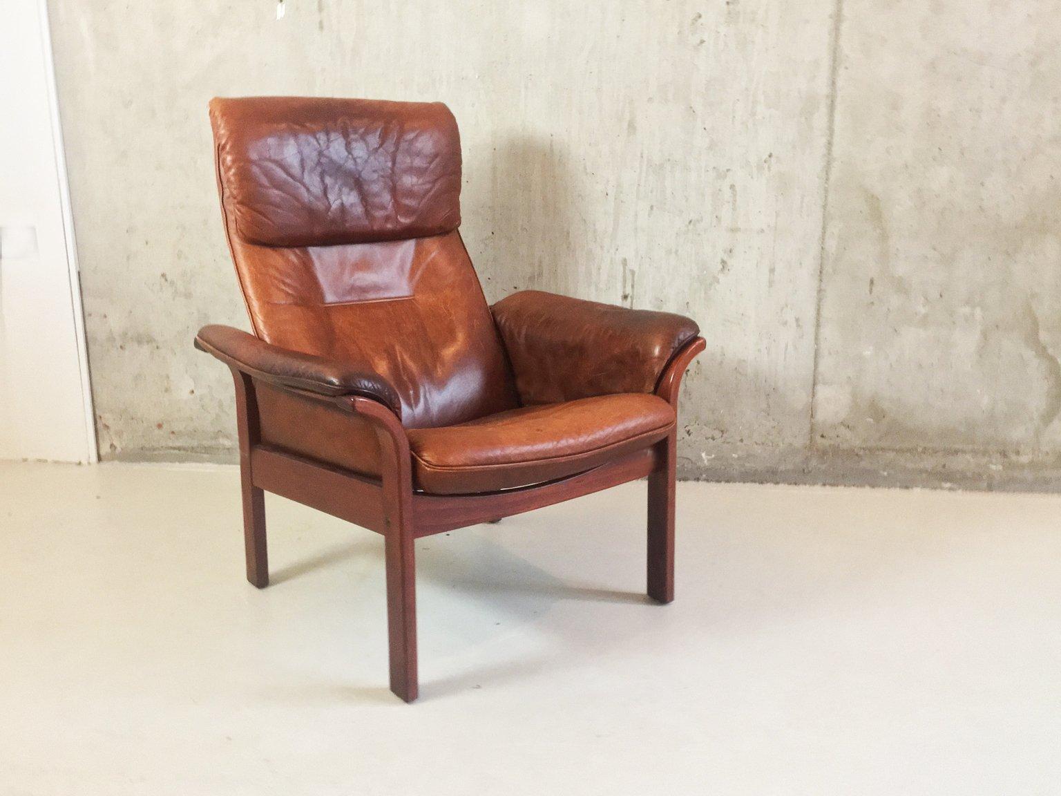 mid century lehnsessel aus braunem leder von g m bel sweden 1960er bei pamono kaufen. Black Bedroom Furniture Sets. Home Design Ideas