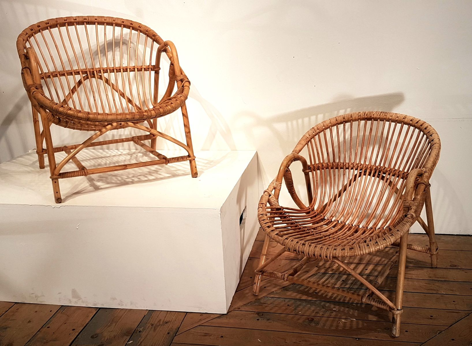 Bamboo Coffee Table & 2 Chairs 1950s for sale at Pamono