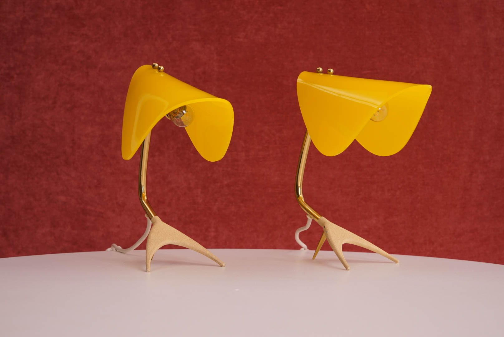 Mid Century Table Lamps With Yellow Shades Set Of 2 For