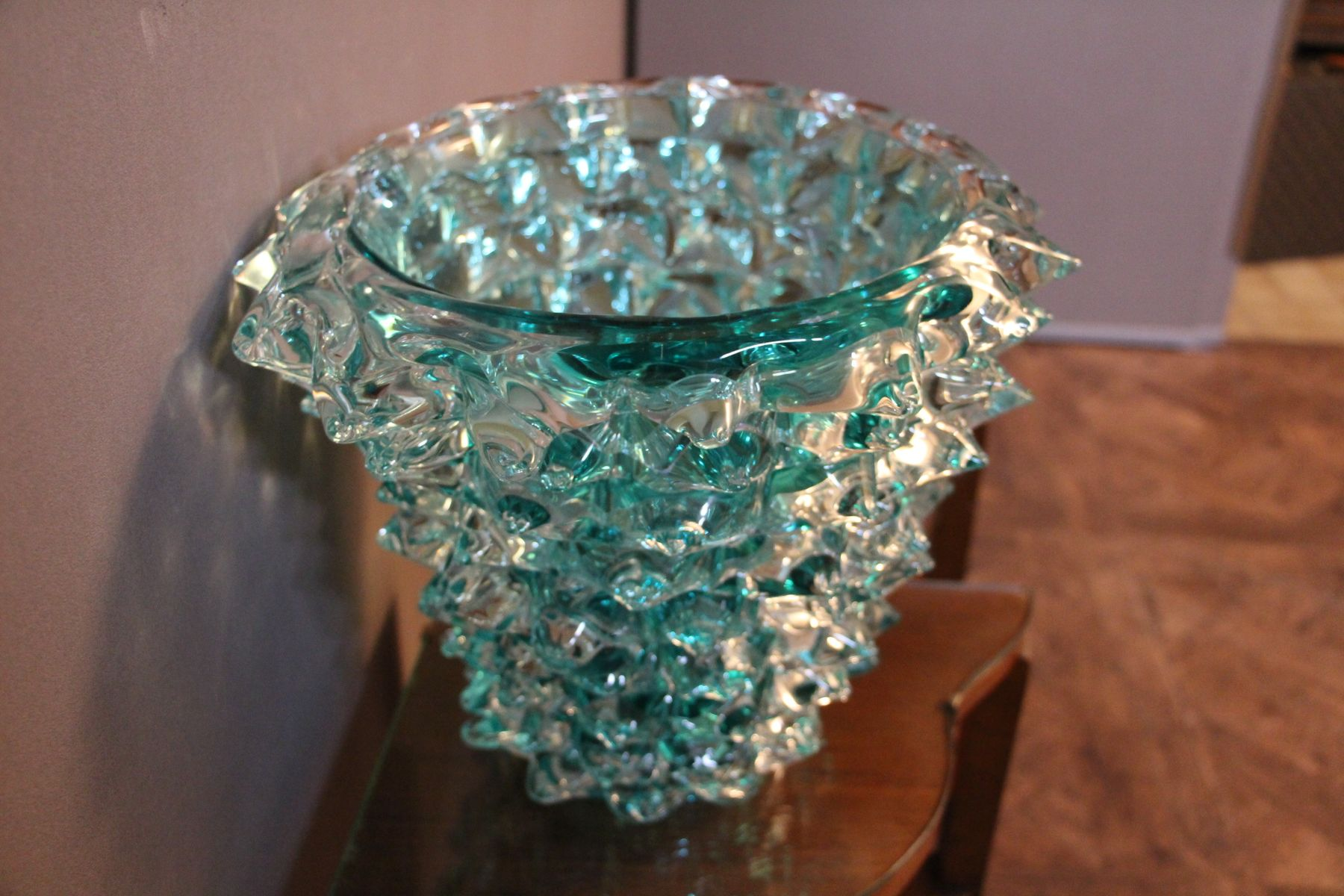 Turquoise Blue Vase In Murano Glass With Spikes Decor 1980s For Sale At Pamono