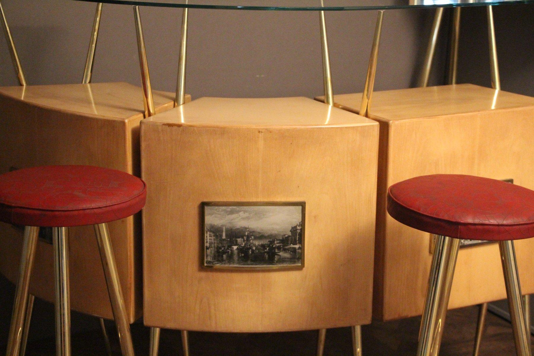 Italienische mid century ahorn bar schrank und 2 hocker for Bar und hocker