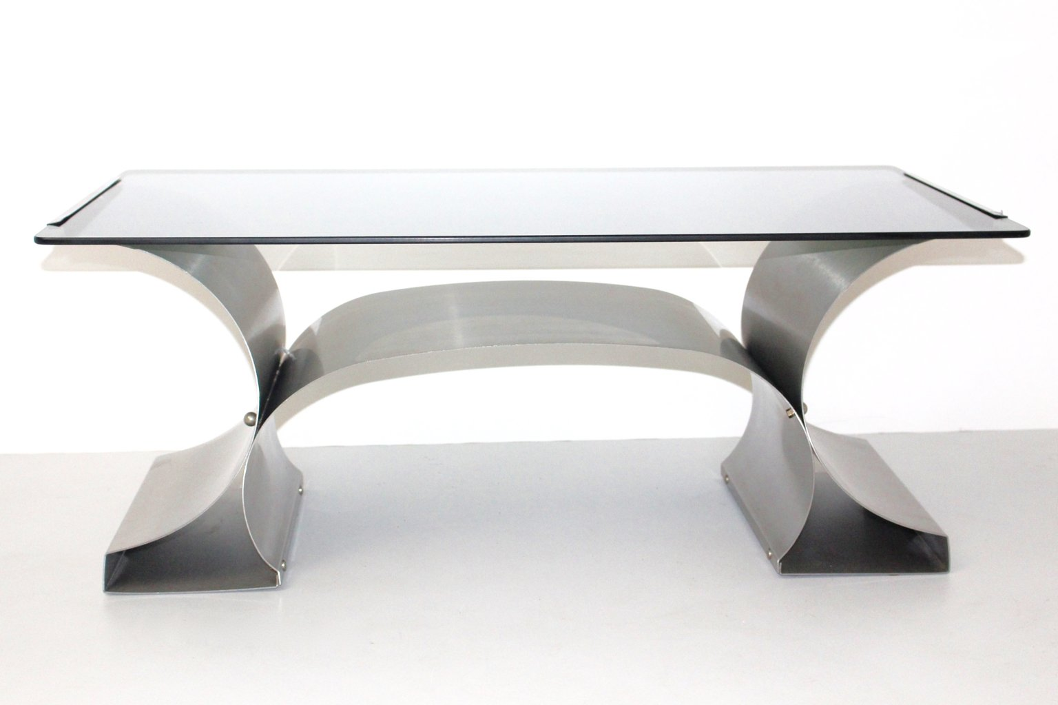 Stainless steel coffee table by francois monnet 1970s for sale at stainless steel coffee table by francois monnet 1970s geotapseo Images