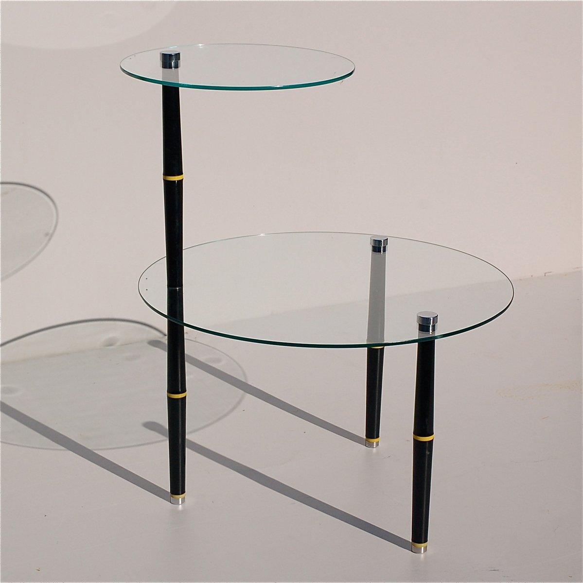 italienischer vintage beistelltisch aus glas mit schwarzen. Black Bedroom Furniture Sets. Home Design Ideas