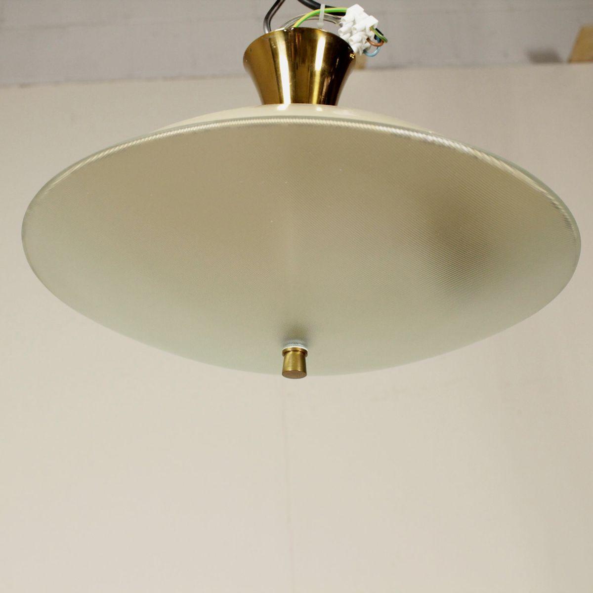 italienische deckenlampe aus messing glas und aluminium. Black Bedroom Furniture Sets. Home Design Ideas