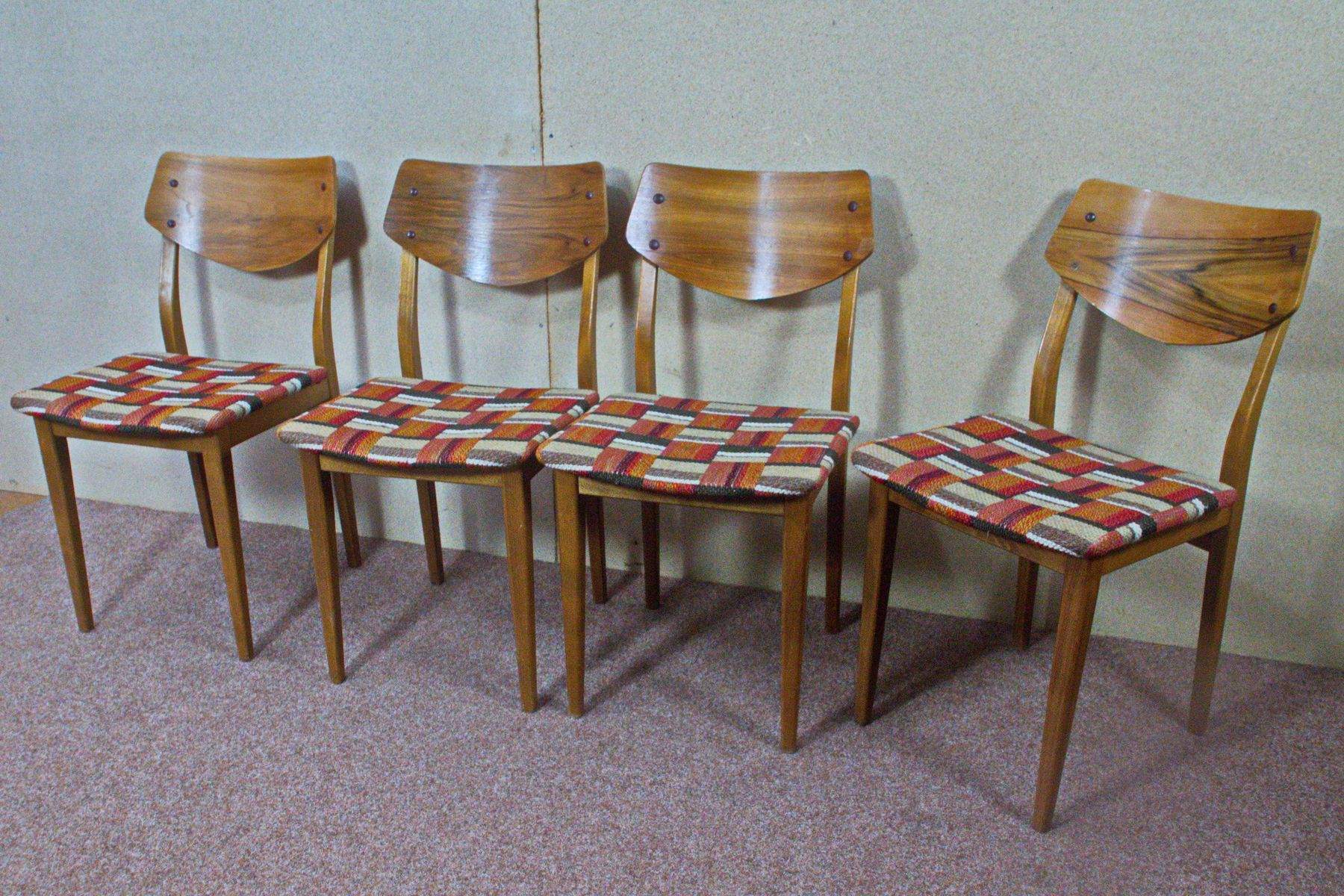 German Walnut Dining Chairs with Checkered Upholstery 1960s Set