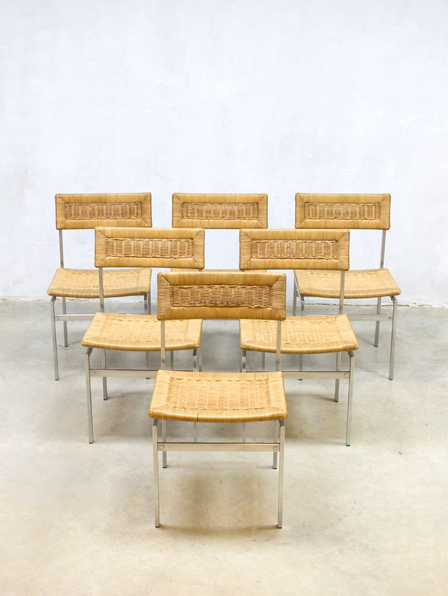 Rattan dining chairs 1960s set of 6 for sale at pamono for Set of 6 dining chairs