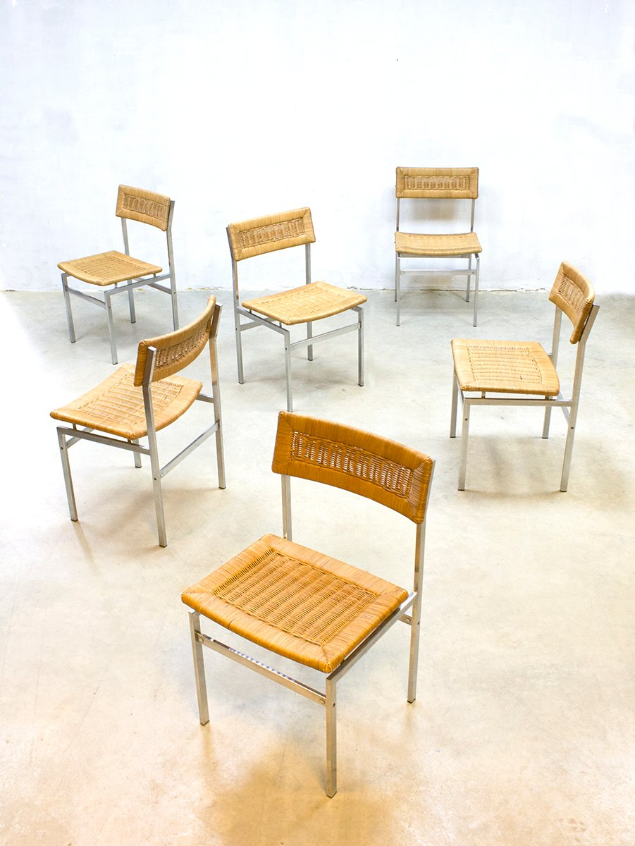 Chaises de salon en rotin 1960s set de 6 en vente sur pamono for Chaise de salon en rotin