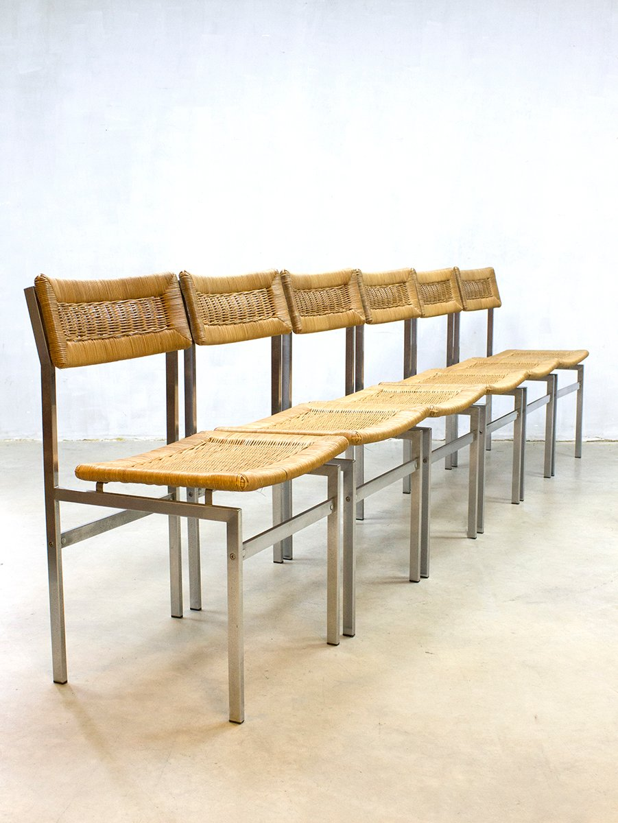 rattan dining chairs 1960s set of 6