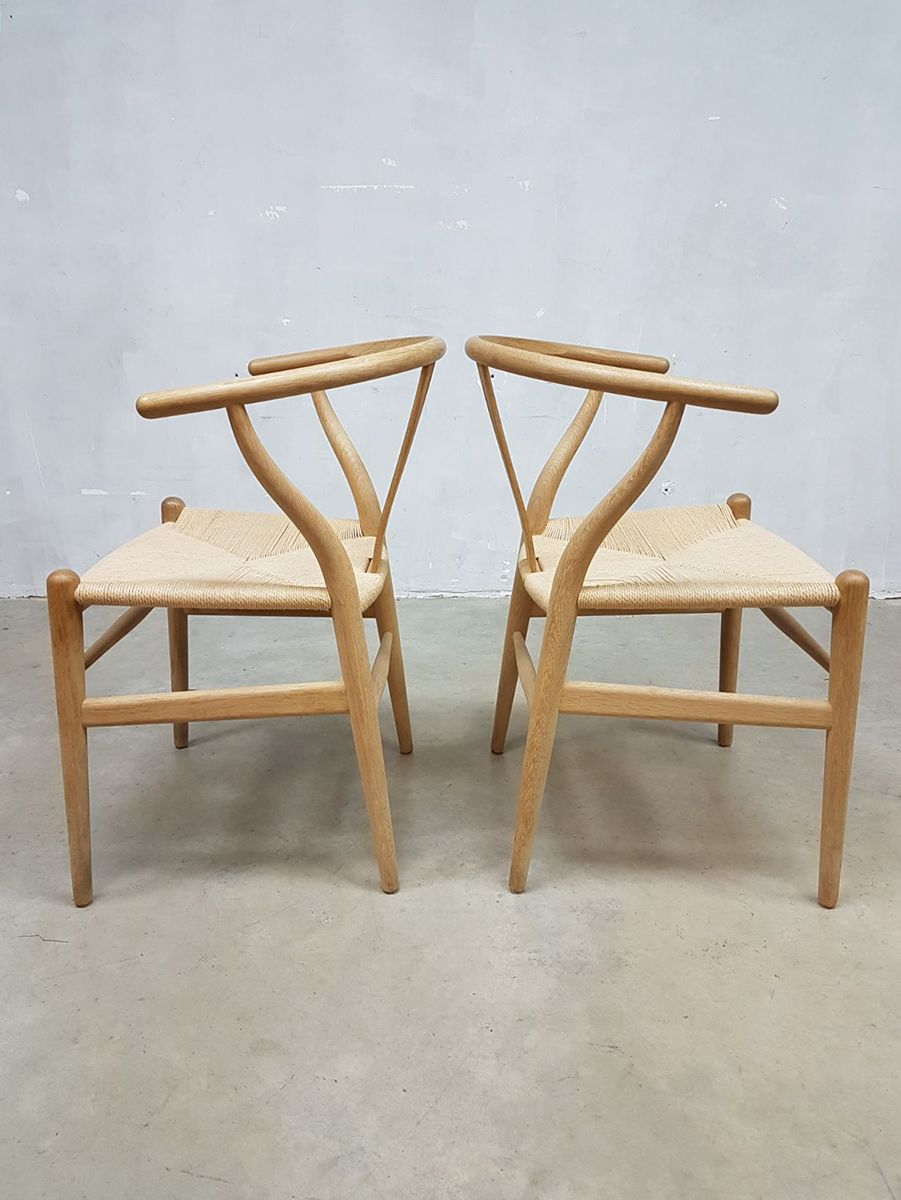 vintage ch24 wishbone chairs by hans wegner for carl hansen s n set of 8 for sale at pamono. Black Bedroom Furniture Sets. Home Design Ideas
