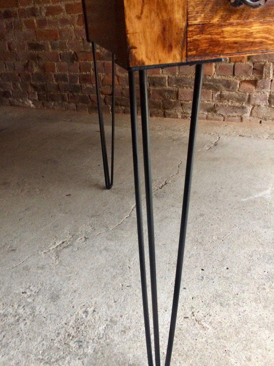 Edwardian Roll Top Oak Desk With Hairpin Legs 1900s For