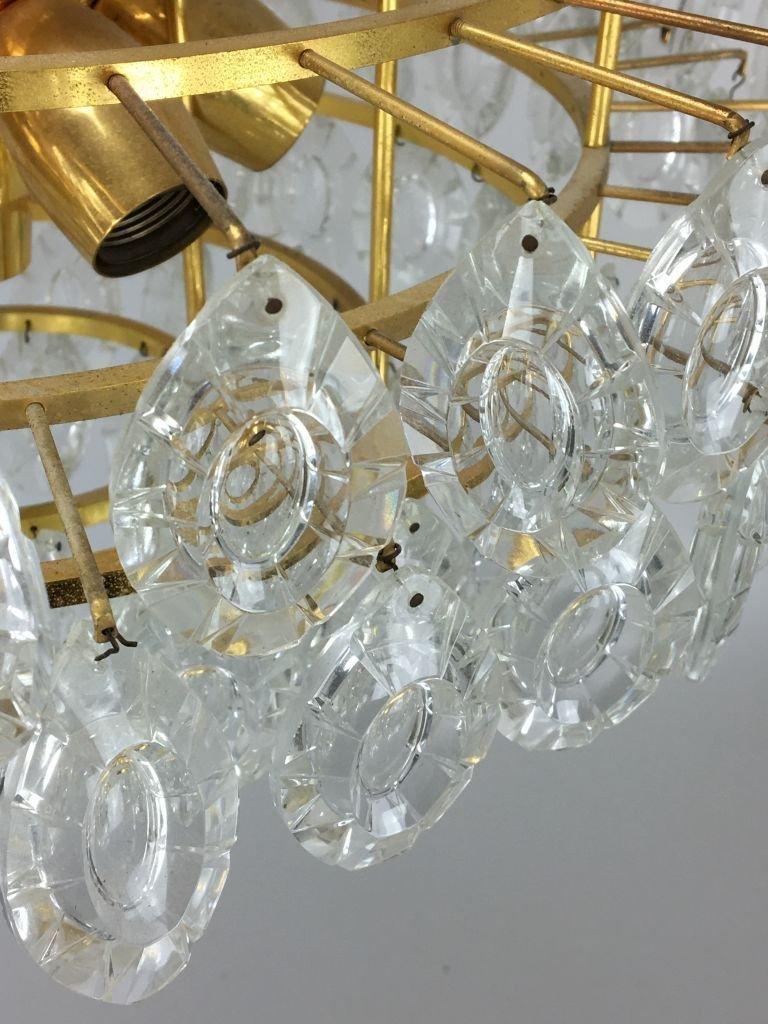 kronleuchter aus messing glas von kinkeldey 1960er bei. Black Bedroom Furniture Sets. Home Design Ideas