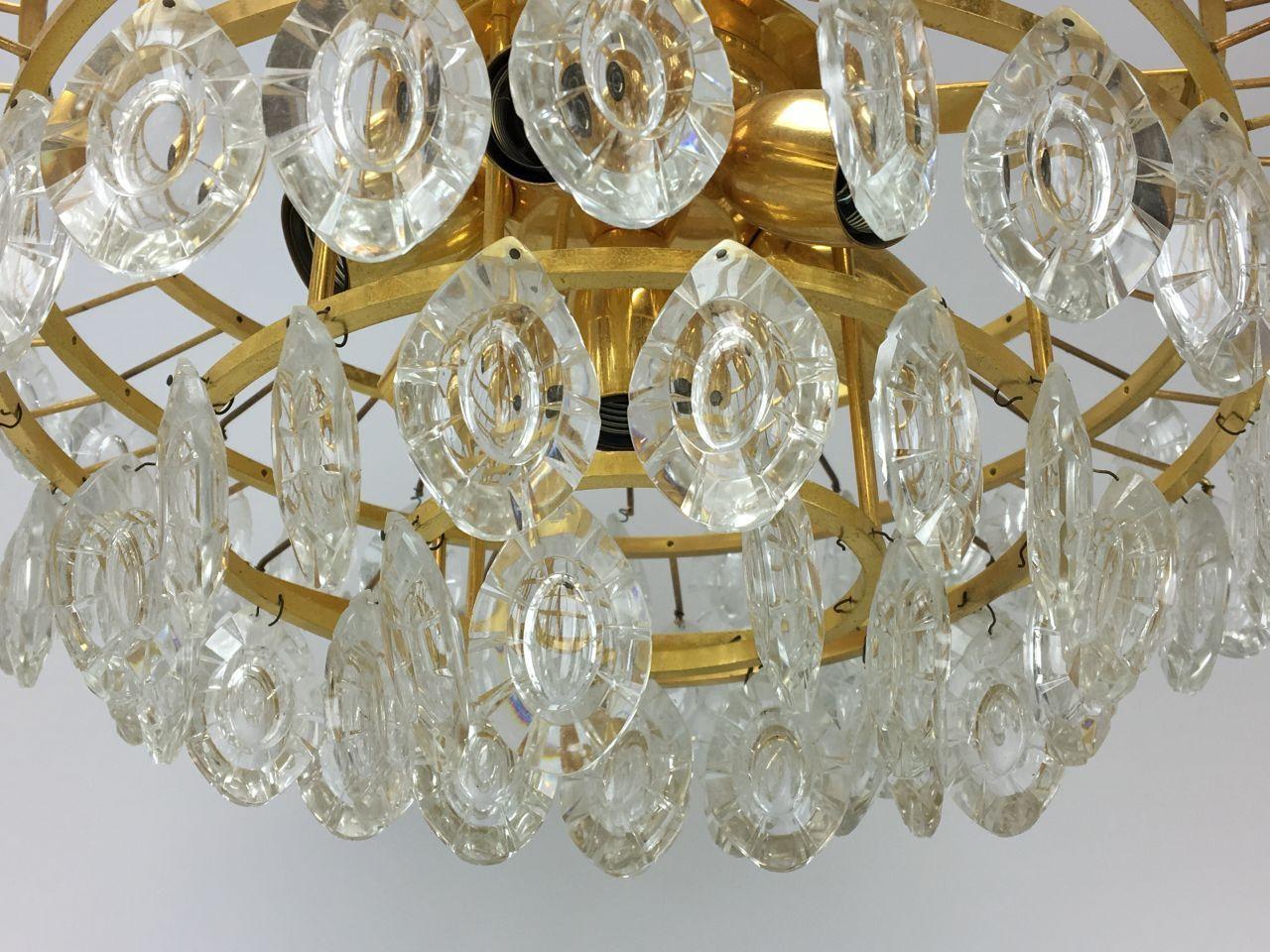 kronleuchter aus messing glas von kinkeldey 1960er bei pamono kaufen. Black Bedroom Furniture Sets. Home Design Ideas