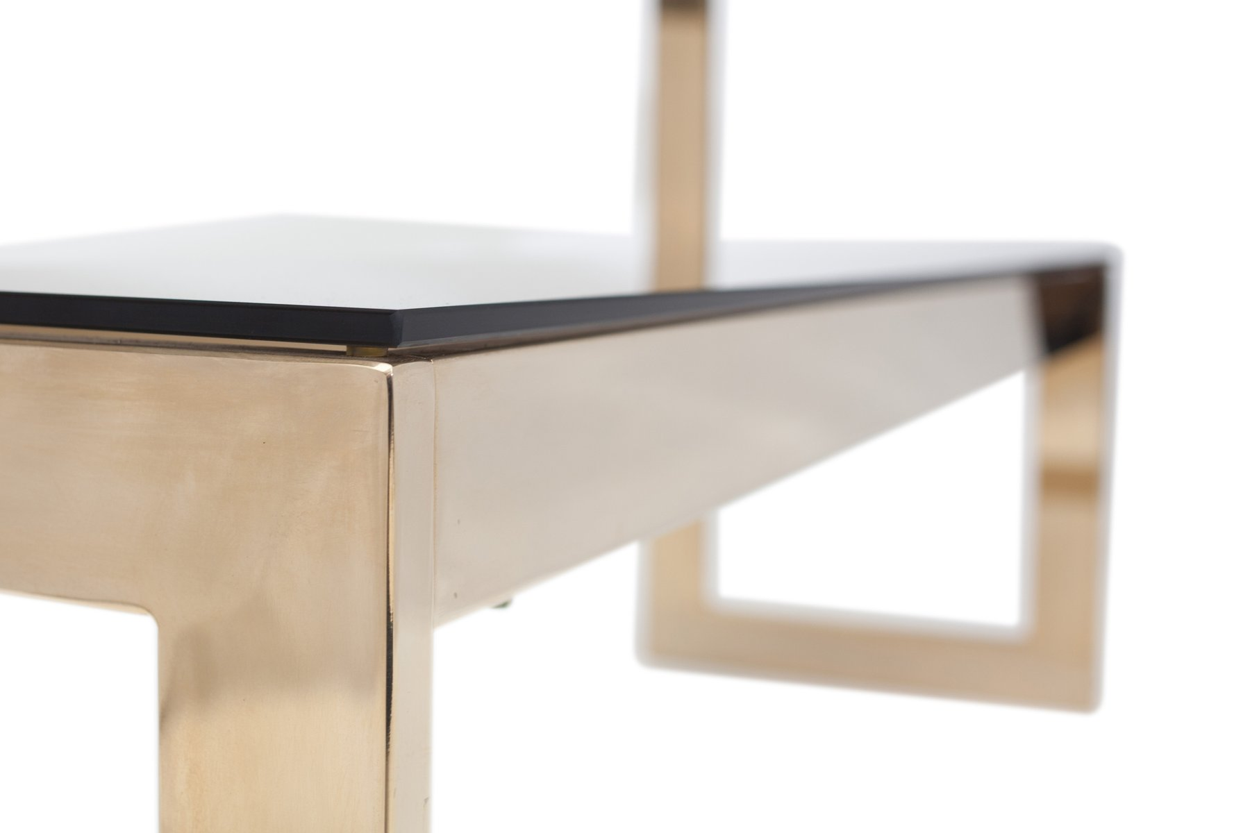 Gold Layered 2 Tiered Console Table by Belgo Chrom Dewulf