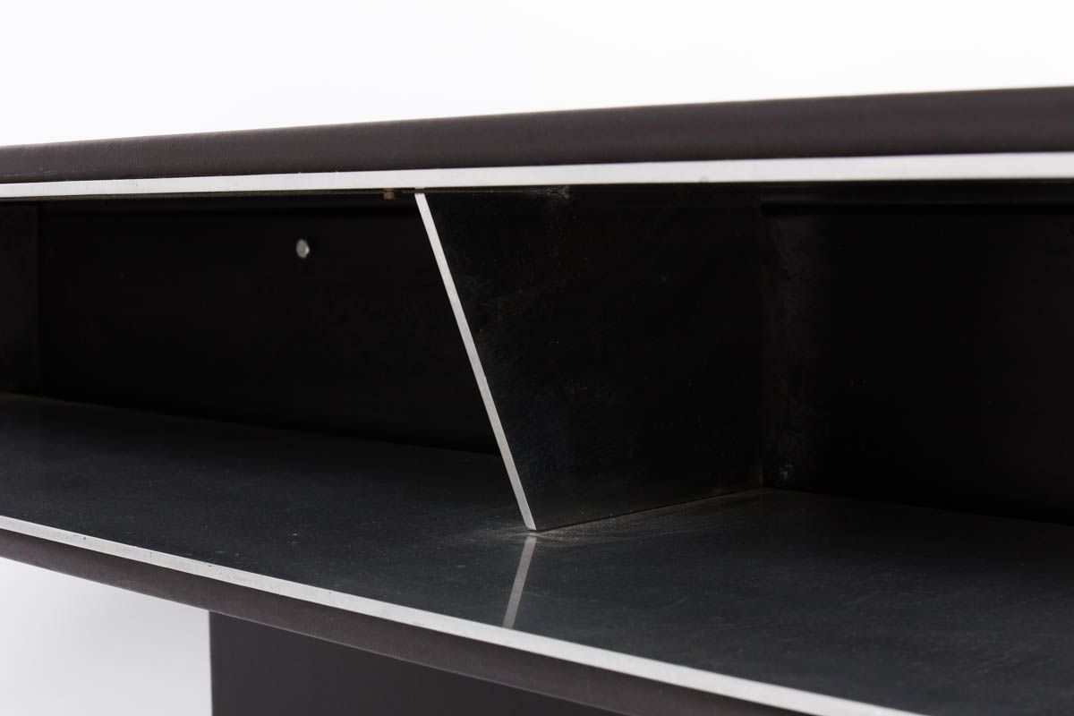 Aluminium Coffee Table With Black Leatherette 1970s For Sale At Pamono