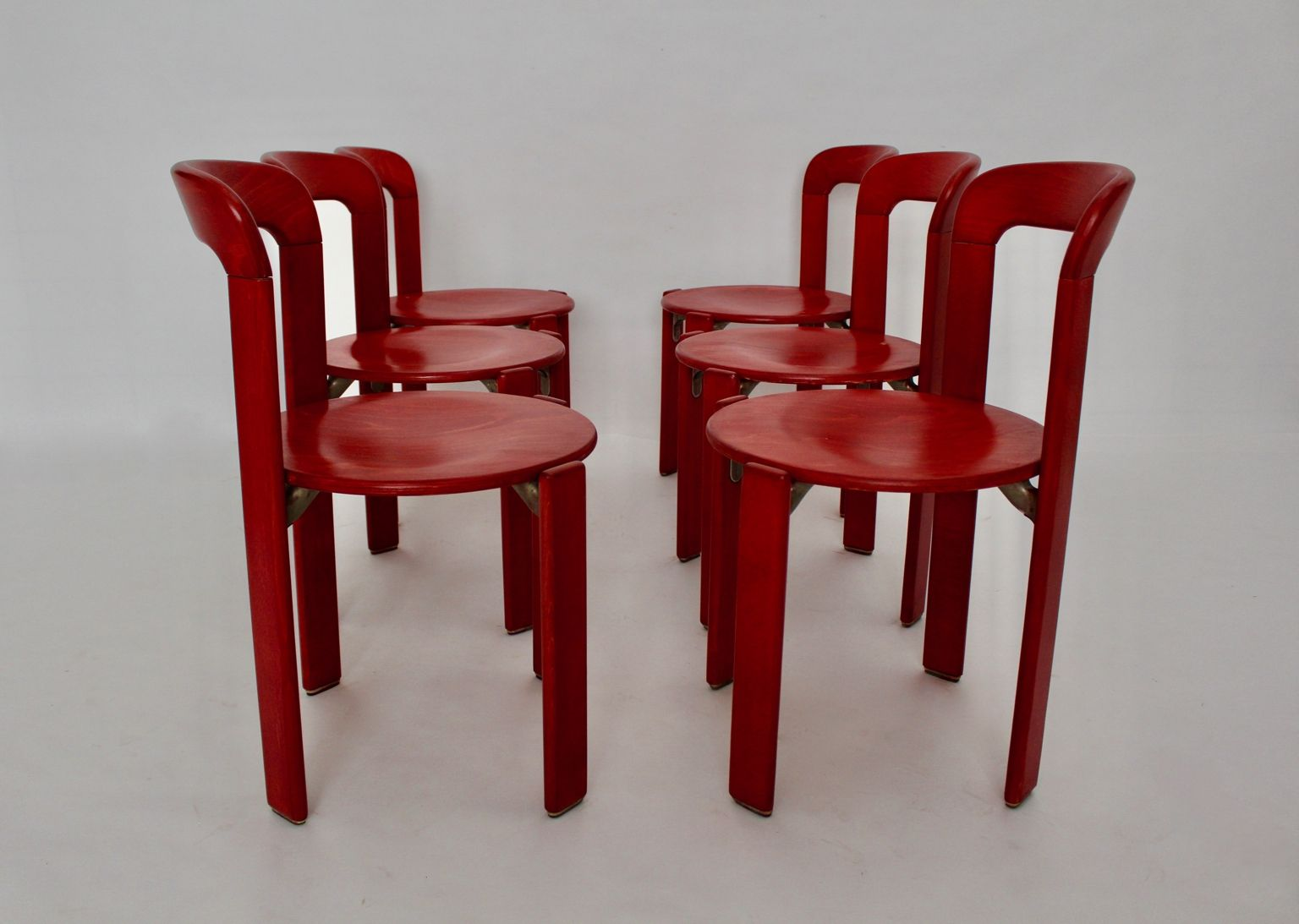 Vintage red dining chairs by bruno rey for kusch co set for Red dining chairs for sale