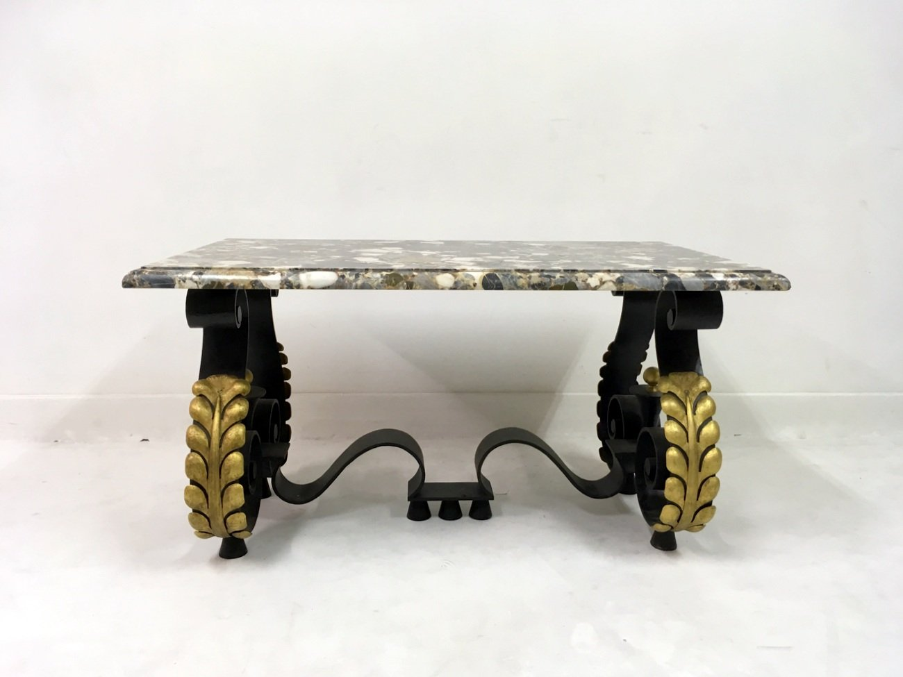 Mid Century French Metal And Marble Coffee Table