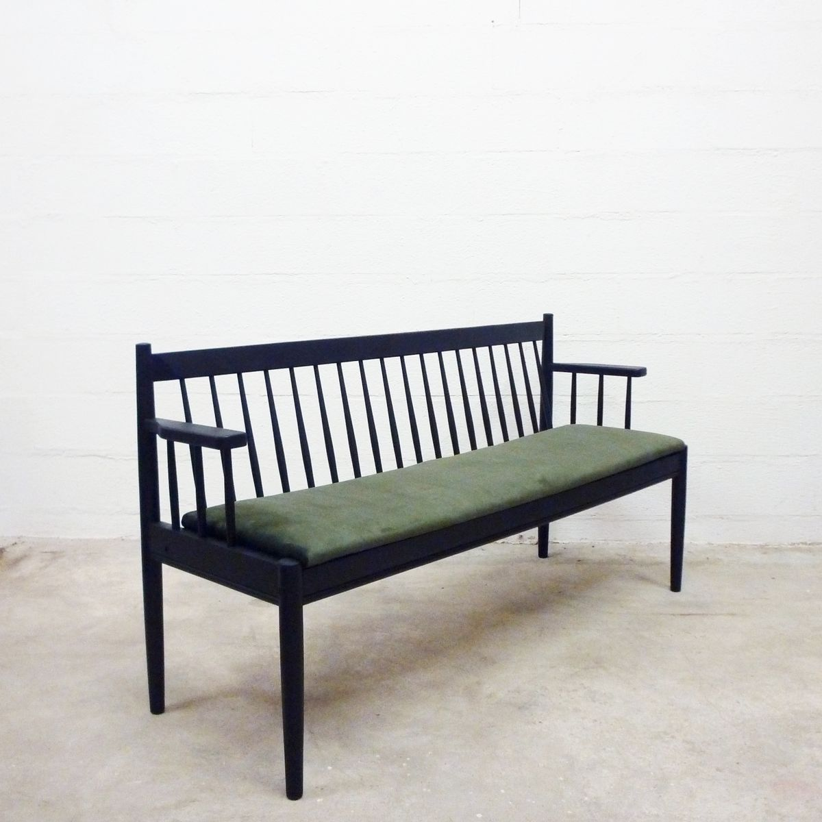 Mid Century Black Wooden Bench For Sale At Pamono