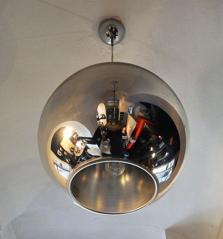 fontana arte lighting. metal globe of light pendant by roberto menghi for fontana arte, 1960s arte lighting