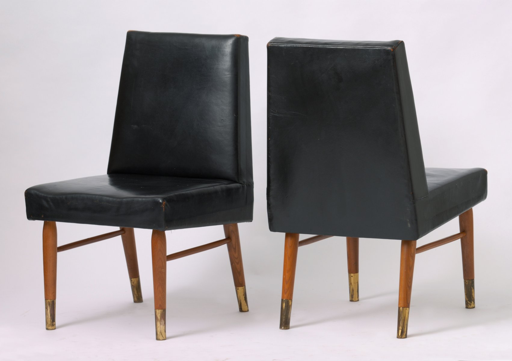 Vintage Black Leather Chairs Set of 2 for sale at Pamono