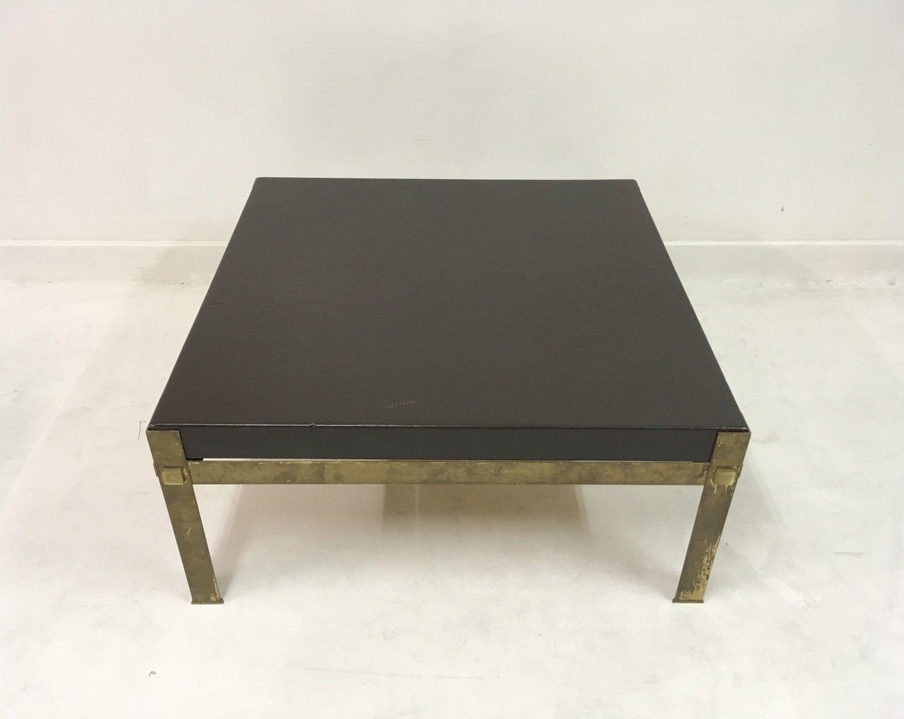 franz sischer couchtisch aus messing leder 1970er bei. Black Bedroom Furniture Sets. Home Design Ideas
