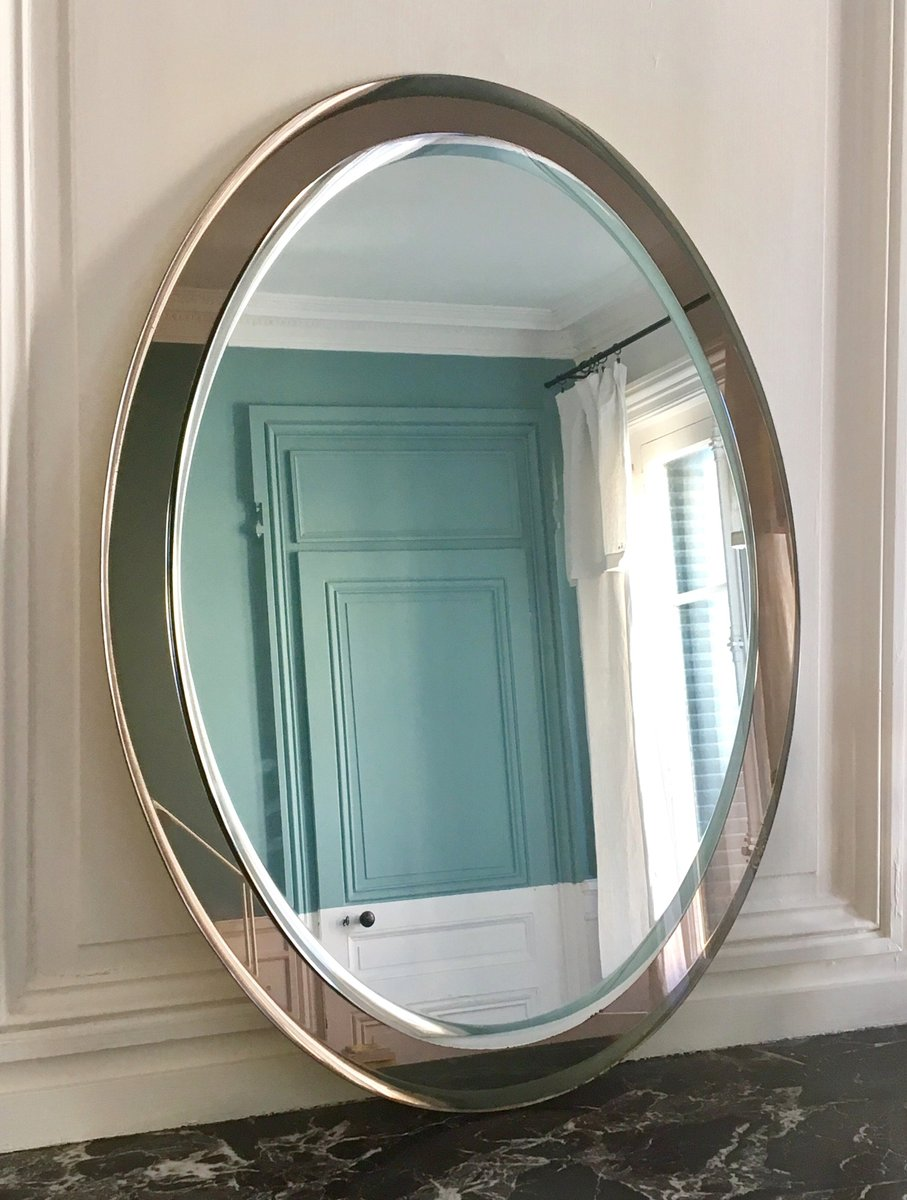 two toned italian glass mirror 1960s for sale at pamono. Black Bedroom Furniture Sets. Home Design Ideas