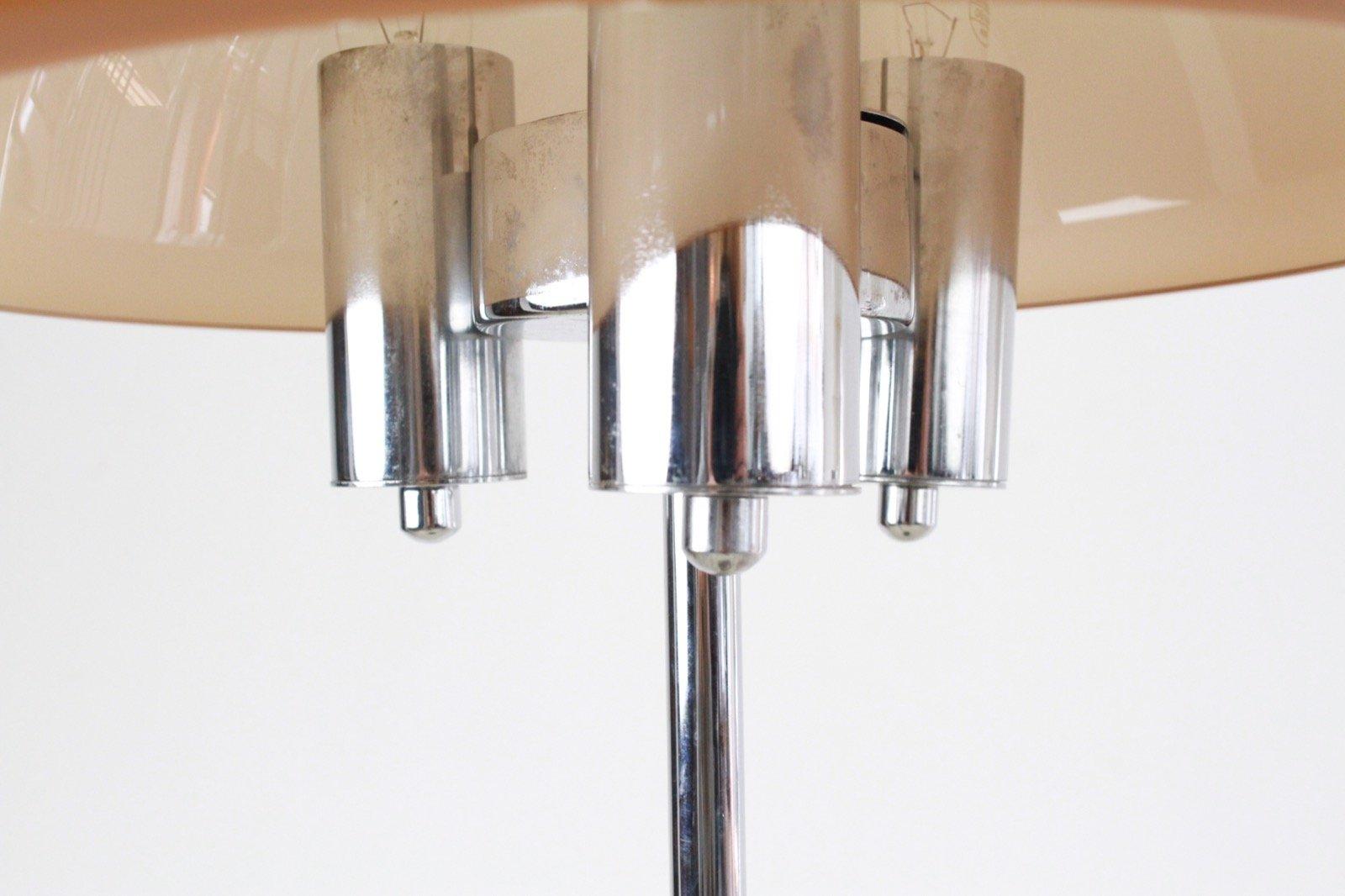 stehlampe aus chrom mit pfirsichfarbenem schirm 1960er bei pamono kaufen. Black Bedroom Furniture Sets. Home Design Ideas