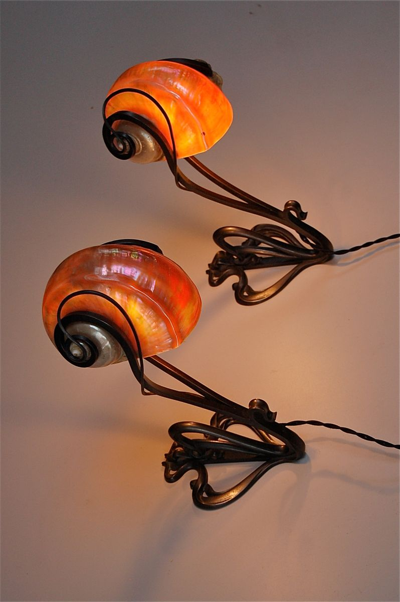 Vintage Shell Wall Lights : Vintage Art Nouveau Nautilus Shell Wall Light for sale at Pamono