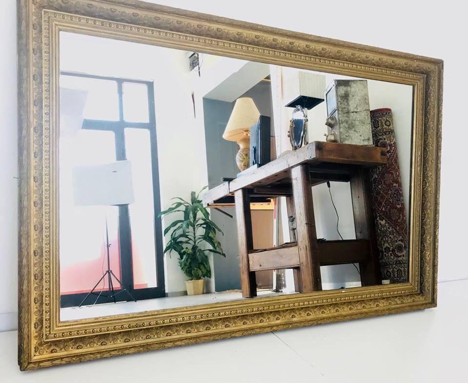 spiegel mit holzrahmen und gold einlagen 1950er bei. Black Bedroom Furniture Sets. Home Design Ideas