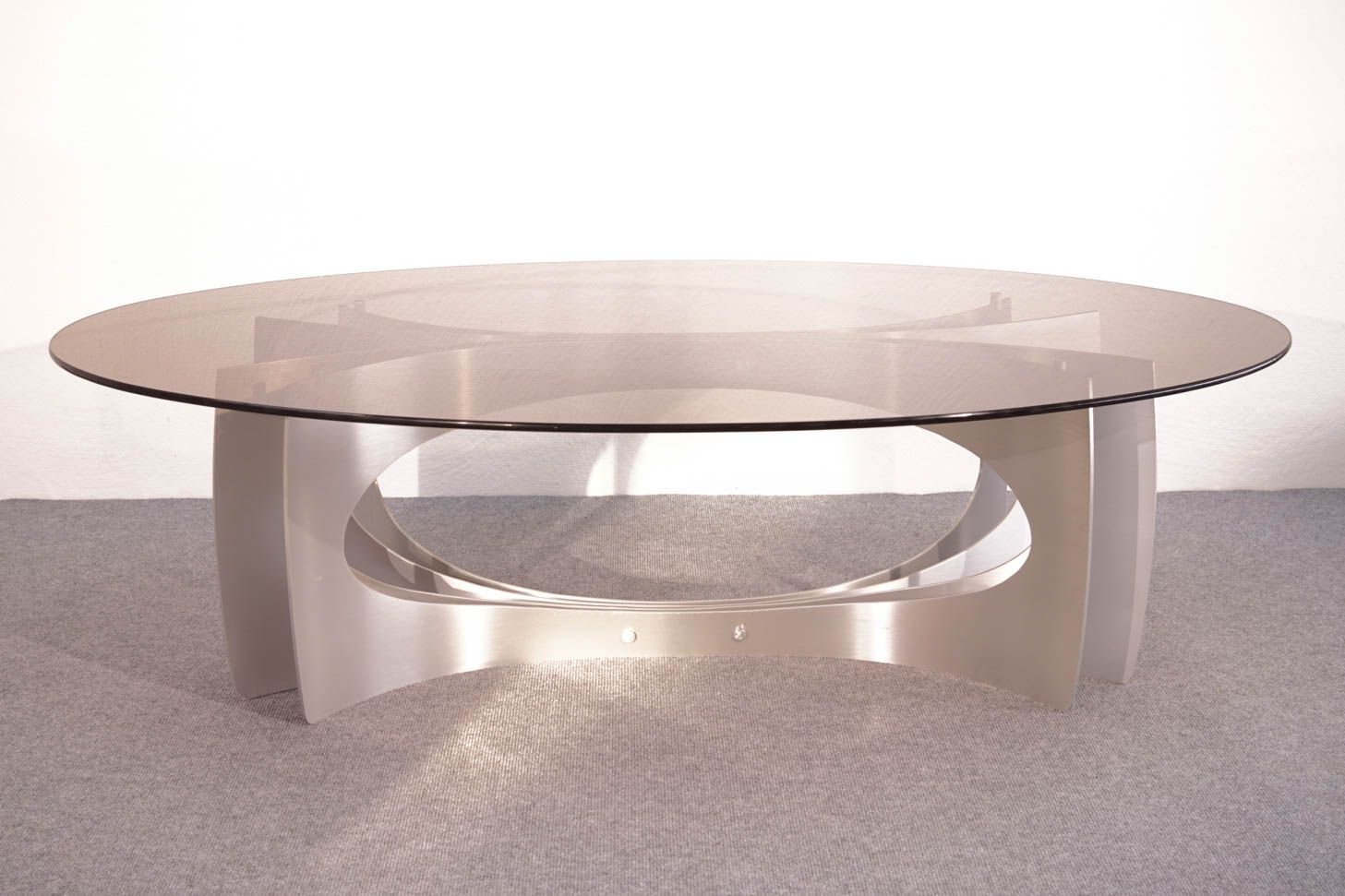 vintage aluminum u0026 glass coffee table for sale at pamono
