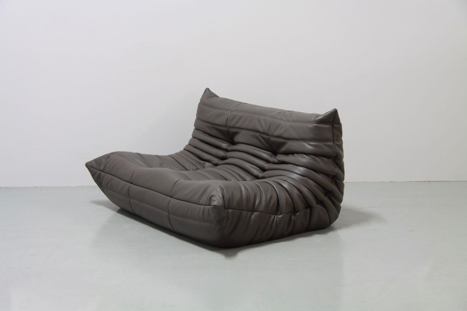 Vintage Graphite Leather Togo Sofa Set By Michel Ducaroy