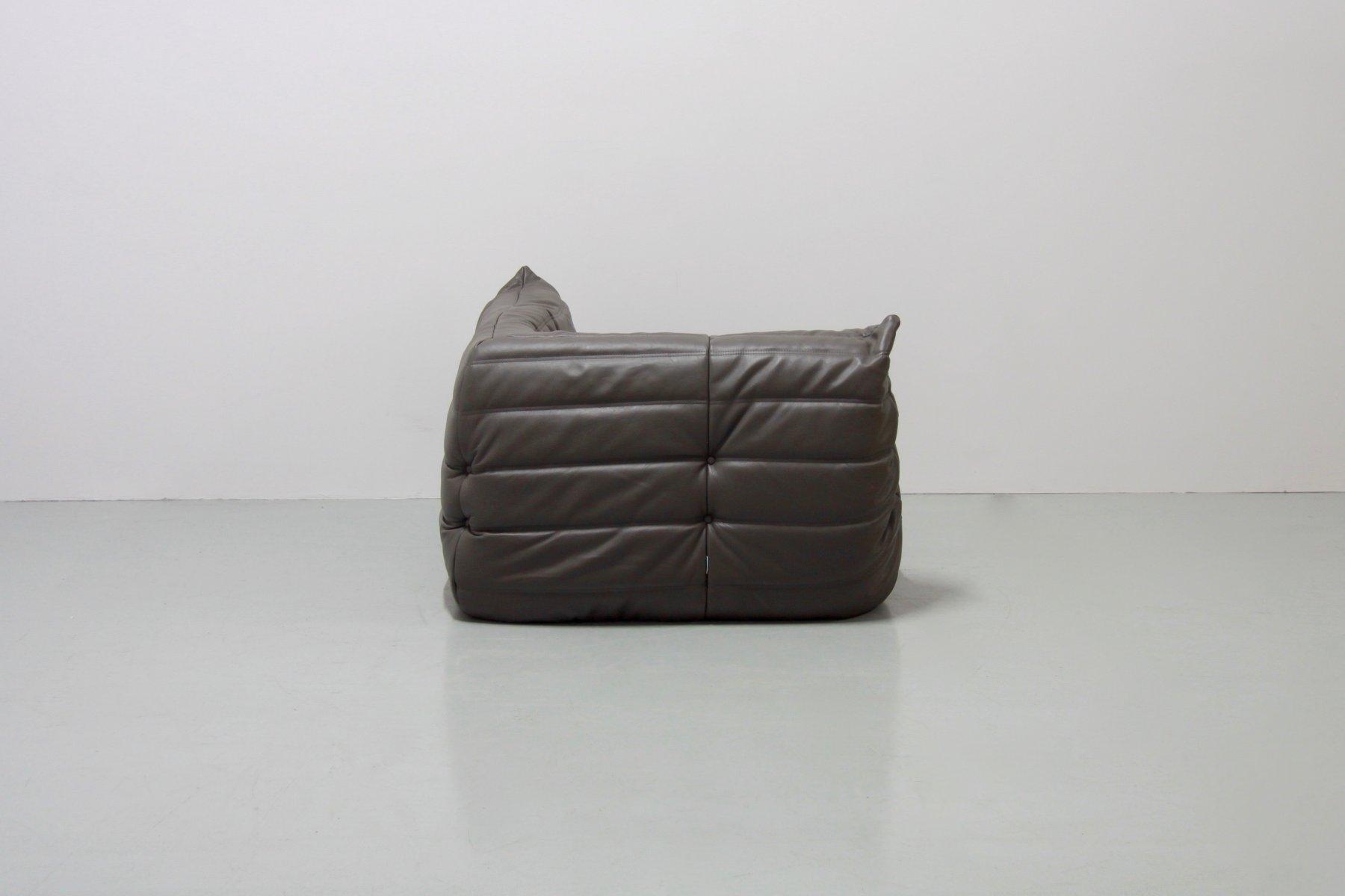 Graphite Leather Togo Sofa Set By Michel Ducaroy For Ligne