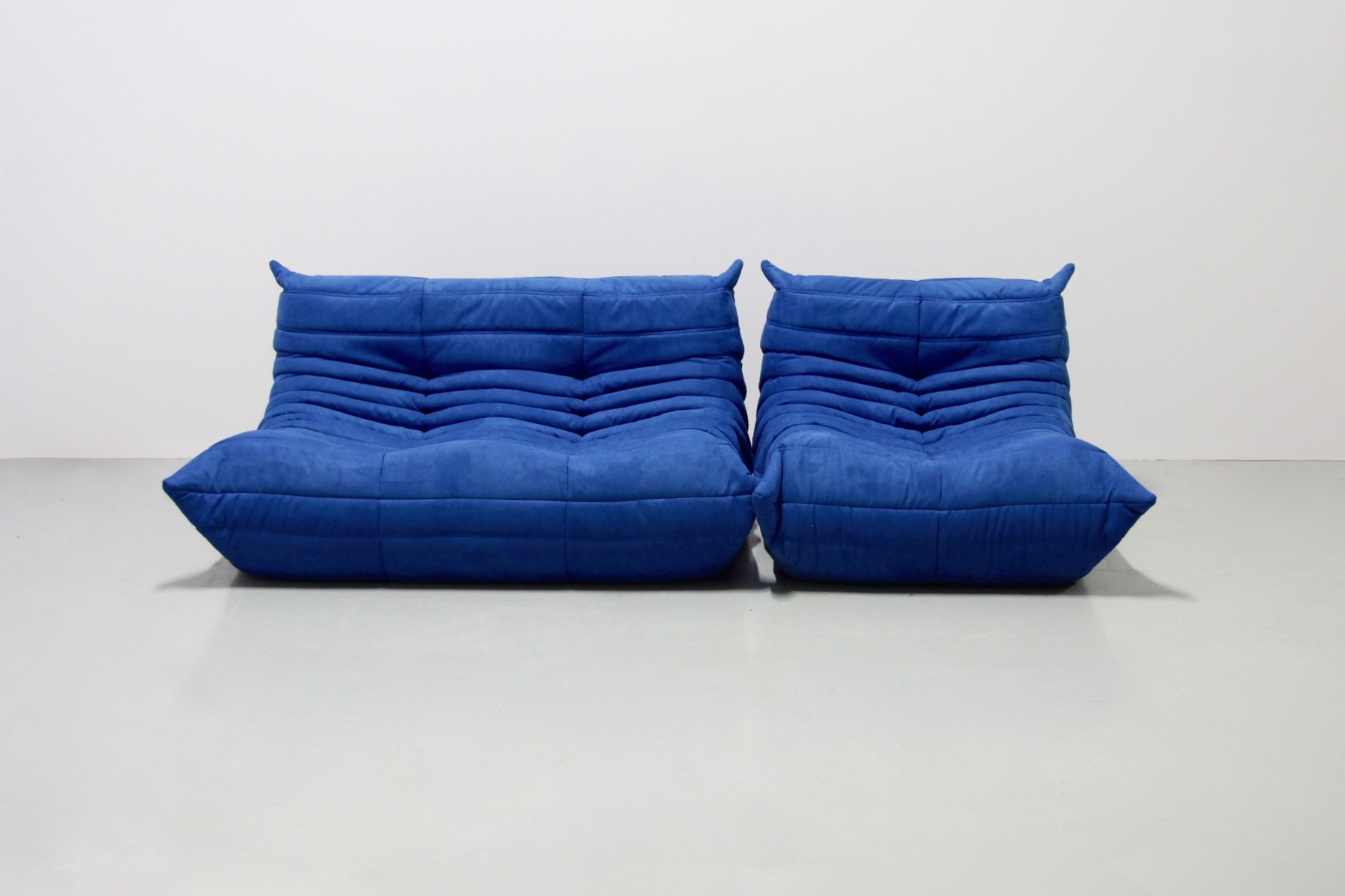 vintage blue microfibre togo sofa set by michel ducaroy. Black Bedroom Furniture Sets. Home Design Ideas