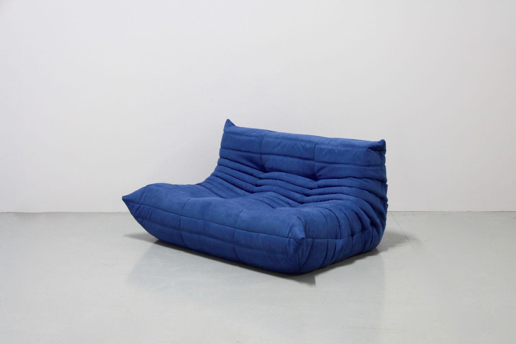 vintage togo sofa set aus blauer mikrofaser von michel ducaroy f r ligne roset 1970er bei. Black Bedroom Furniture Sets. Home Design Ideas