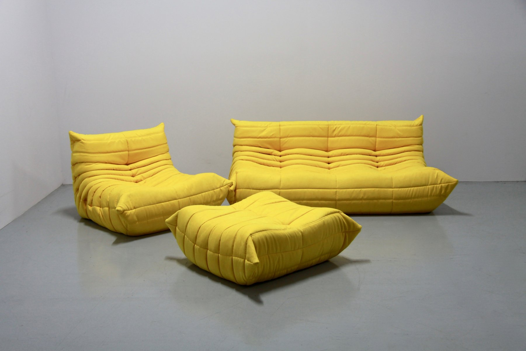 vintage yellow microfibre togo sofa set by michel ducaroy for ligne roset 1970s