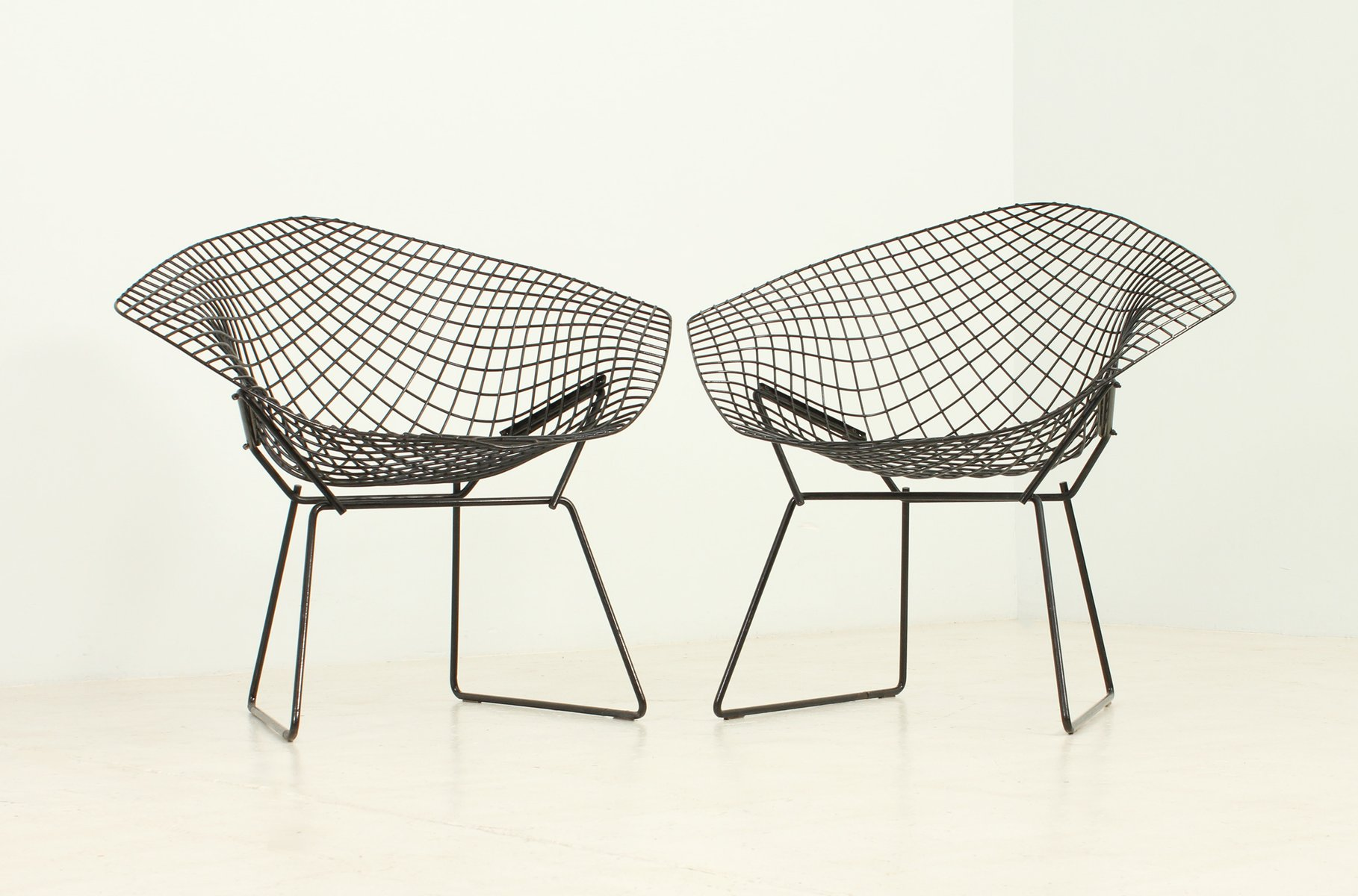 Black Diamond Chairs by Harry Bertoia for Knoll 1950s Set of 2