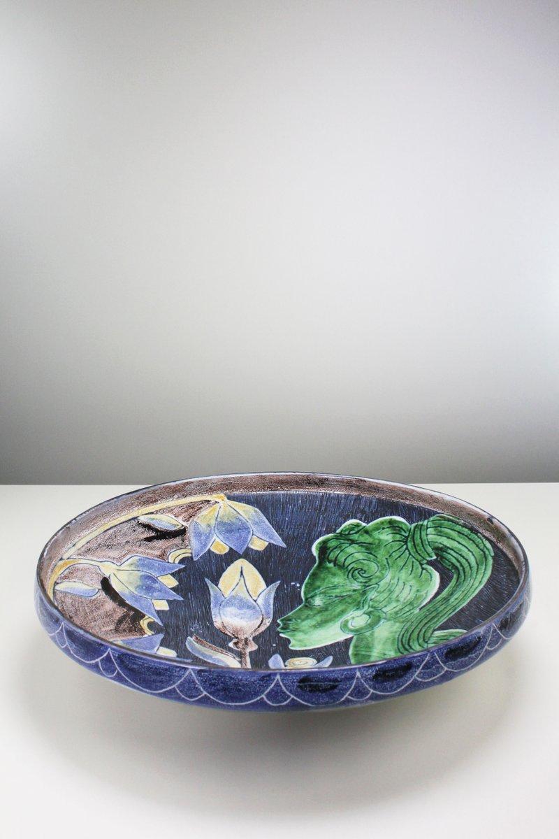 Swedish Modern Floral Ceramic Centerpiece Depicting a Woman by Tilgmans,  1957