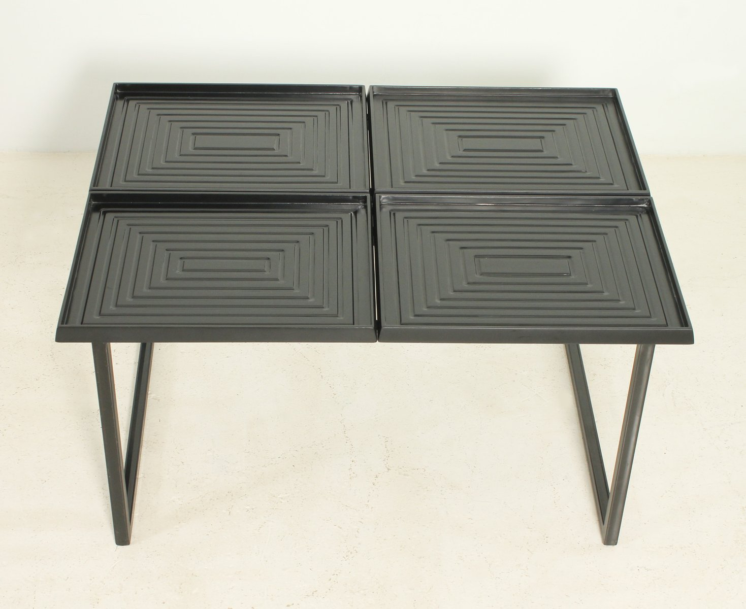 Geometric Coffee Table With Removable Trays 1980s For