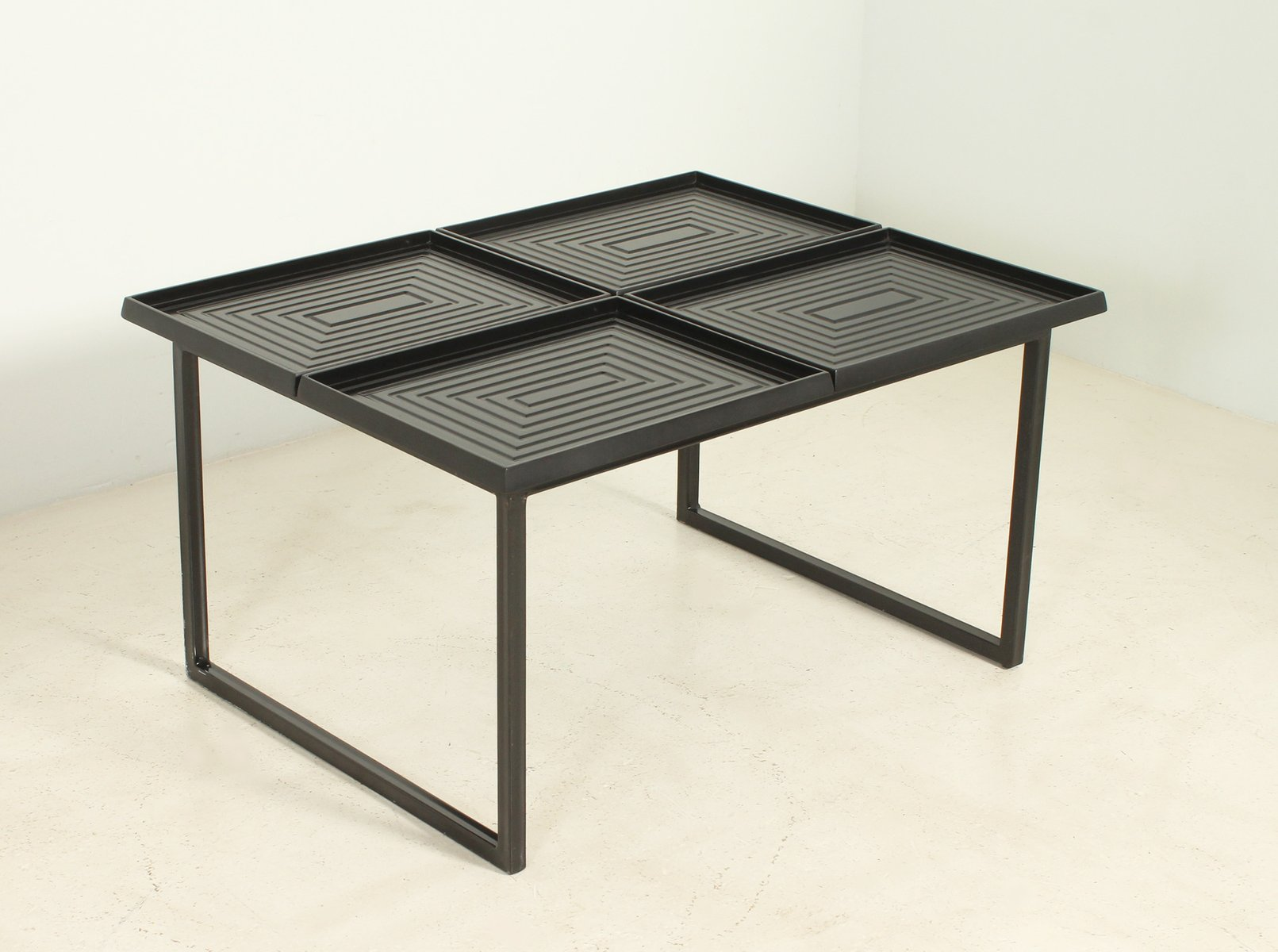 Geometric coffee table with removable trays 1980s for sale at pamono geometric coffee table with removable trays 1980s geotapseo Image collections